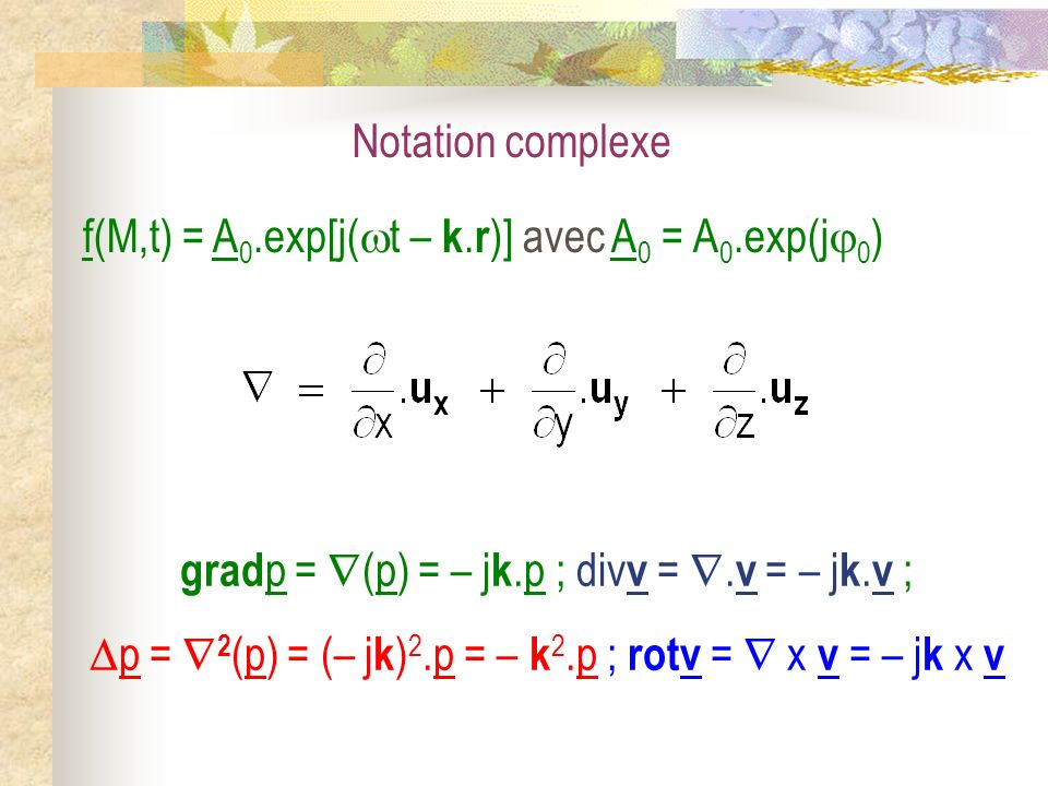 f(M,t) = A0.exp[j(t – k.r)] avec A0 = A0.exp(j0)